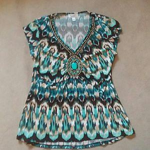 Bohemian Beaded Dress Shirt